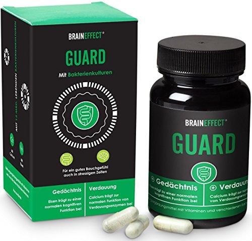 BRAINEFFECT GUARD | Probiotika aus 12 ausgewählten Bakterien-Kulturen für eine gesunde Darmflora | Schutzschild für dein Zweites Gehirn | Eisen, Calcium & Vitamin B12 | 60 Kapseln | vegan