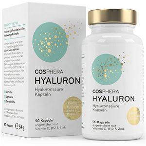 Hyaluronsäure Kapseln – Hochdosiert mit 350 mg pro Kapsel. 90 vegane Kapseln im 3 Monatsvorrat – 500-700 kDa – Angereichert mit Vitamin C, B12 und Zink – Für Haut, Anti-Aging und Gelenke – Cosphera