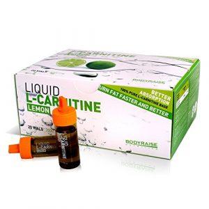 Bodyraise 100% reines L-Carnitin Ampullen 2000mg – Aminosäure-Ergänzungsmittel (Zitronengeschmack) zum Gewichtsverlust, Steigerung der geistigen Leistung und Energie – trinkfertig 20x10ml Ampullen!