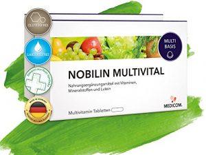 Nobilin Multivital – 120 Multivitamin Tabletten [4-Monatsvorrat] Tägliche Portion an Multivitaminen & Mineralien • 25 wichtige Vitalstoffe, Vitamine, Mineralstoffe, Spurenelemente von Vitamin A-Z