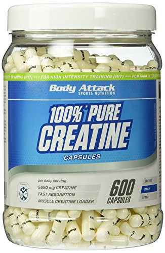 Body Attack 100% Pure Creatine Capsules, 600 Kapseln, 1er Pack (1 x 552g)