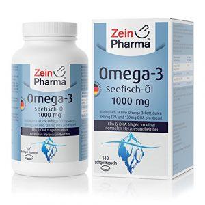 ZeinPharma Omega-3 Kapseln • 140 Softgel-Kapseln mit je 1000 mg Fischöl – davon 180 mg EPA & 120 mg DHA • mit wertvollen Fettsäuren und Vitamin E • Hergestellt in Deutschland