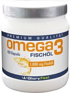Omega 3 Fischöl-Kapseln 1000mg – DER VERGLEICHSSIEGER 2017* – 400 Stück Hochdosiert – Mit 180mg EPA und 120mg DHA pro Omega-3 Softgel-Kapsel – Ohne Magnesiumstearate von GloryFeel