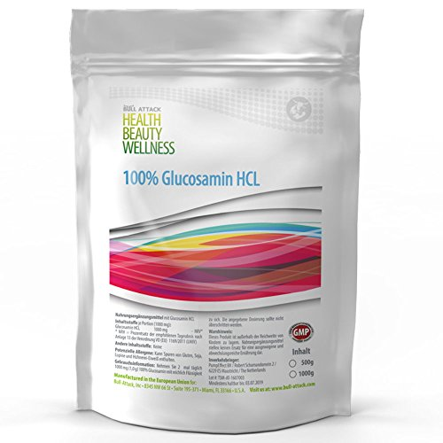 500g GLUCOSAMIN HCL Pulver   100% Rein ohne Zusatzstoffe   auch für Tiere (Pferde, Hunde usw) geeignet   Premium Qualität