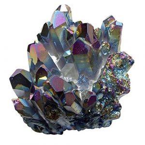 Bergkristall Stufe mit Titanium bedampft schillernd in Regenbogen-Farben