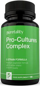 Probiotika Pro-Kulturen-Komplex 5 Bakterienstämme-Rezeptur 180 Kapseln (Versorgung für 6 Monate) – Probiotika 10 Milliarden KBE Pulver – Vegetarisches, hochleistungsfähiges Probiotika Ergänzungsmittel mit Lactobacillus Acidophilus von Puretality