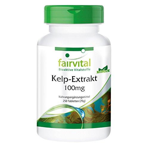 Kelp-Extrakt 100mg, natürliche Jod-Quelle mit 150mcg Jod/100% NRV, aus dem Nord-Atlantik, 250 vegane Tabletten, Großpackung
