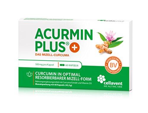 Kurkuma Kapseln hochdosiert von Acurmin PLUS®: Das Mizell-Curcuma (Curcumin) mit Vitamin D3, OHNE Piperin/Bioperin/Pfeffer von Cellavent Healthcare GmbH - 60 Kapseln