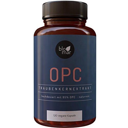OPC Traubenkernextrakt hochdosiert 95% · kraftvoll und naturrein vom Deutschen Hersteller · 120 vegane Kapseln · 665mg OPC pro Portion