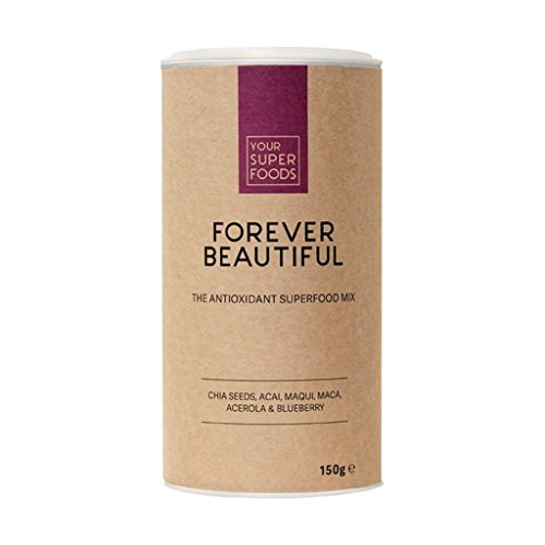 Your Superfoods - Forever Beautiful Bio Vegan Superfood Antioxidant Antioxidantien Mix Mischung Pulver aus Acai, Maca, Matcha - für schöne Haut 150g