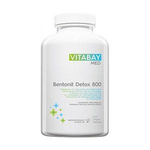 Bentonit DETOX 800 – Medizinprodukt – mikronisierter aktivierter Bentonit – Ultrafein – Montmorillonit Gehalt über 90% – zur Entgiftung, Schwermetall-Ausleitung, Leber-Reinigung, Mineralien-Mangel und Verbesserung der Altersgesundheit – 240 vegane Kapseln