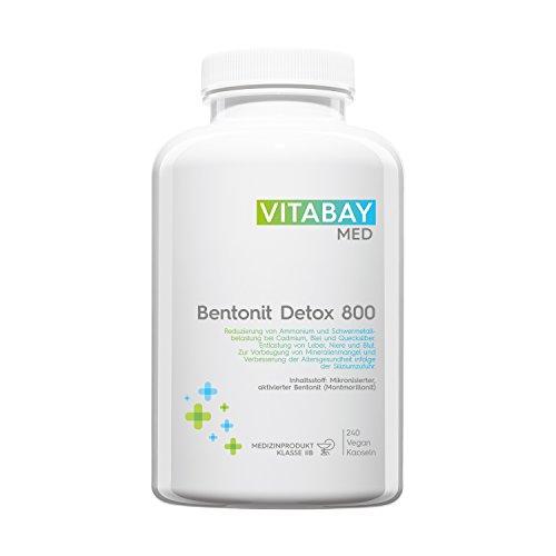 Bentonit DETOX 800 - Medizinprodukt - mikronisierter aktivierter Bentonit - Ultrafein - Montmorillonit Gehalt über 90% - zur Entgiftung, Schwermetall-Ausleitung, Leber-Reinigung, Mineralien-Mangel und Verbesserung der Altersgesundheit - 240 vegane Kapseln