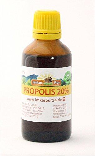 Propolis-Tinktur /-Lösung (20 %) von ImkerPur 50ml, in medizinischem Alkohol, Premiumqualität aus der Ernte 2017