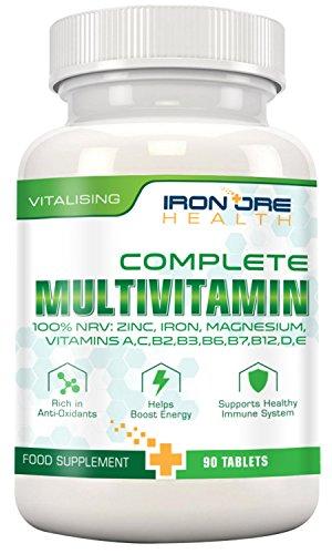 Multivitamin & Mineralien A-Z Komplex – 90 hochdosierte Mikronährstoff-Tabletten: Die wichtigsten Vitamine in nur 1 Tablette, Keine Kapseln – Zink, Eisen, Magnesium, 100% ETD an A C B2 B3 B6 B7 B12 D E für Männer & Frauen