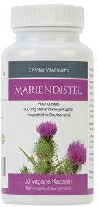 Mariendistel – EXVital VitaHealth – Mariendistel Extrakt mit 80% Silymarin Anteil, hoch konzentriert, 90 vegane Kapseln in deutscher Premiumqualiät, kein Magnesiumstearat und 100% vegan, 1er Pack (1x54g)