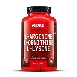 Prozis reines L-Arginin L-Ornithin L-Lysin Ergänzungsmittel Kapseln – Essentieller Aminosäurenkomplex zur Unterstützung der kardiovaskulären Gesundheit, Gewichtsverlust und Energie – 120 Kapseln!