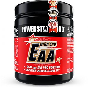 EAA HIGH END – 600g Pulver – 100% instantisiert – Alle 8 essentiellen Aminosäuren in reinster, mikrokristalliner Form – !! WELTWEIT HÖCHSTER CHEMICAL SCORE VON 277 !! – MADE IN GERMANY – Fruit Punch