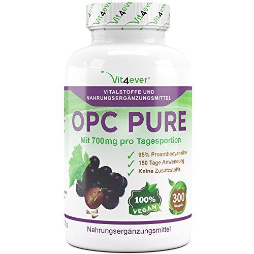 OPC Pure, 700 mg pro Tag, 300 vegane Kapseln mit jeweils 350 mg Traubenkernextrakt, keine Zusatzstoffe, hochdosiert mit 330 mg OPC Gehalt pro Kapsel, 150 Tage Anwendung, Antioxidantien, Vit4ever