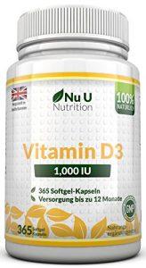 Vitamin D3 1000 IU hochdosiert – für Knochen, Zähne & Immunsystem – Jahresversorgung – 100 % Geld-zurück-Garantie – 365 Softgel-Kapseln – Nahrungsergänzungsmittel von Nu U Nutrition