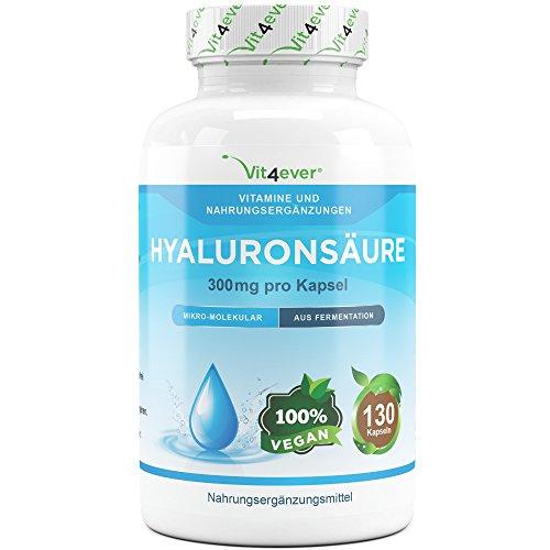 Hyaluronsäure 300 mg - 130 Kapseln - Einführungspreis - Molekülgröße 500-700 kDa - Laborgeprüft - Hyaluron aus Fermentation - Hohe Bioverfügbarkeit - Vegan - Hylaronsäure - Gelenke Haut & Anti-Aging - Vit4ever