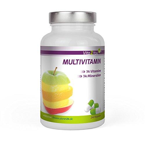Multivitamin 240 Kapseln - 28 Vitamine & Mineralien - Premium Qualität - Made in Germany