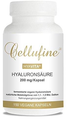 Cellufine® HyaVita® vegane, hochdosierte Anti-Aging-Kapseln mit Hyaluron zum Schlucken (200mg Hyaluronsäure/Kapsel), 150 Kapseln
