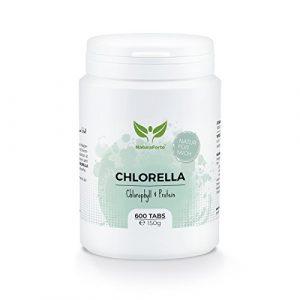 NaturaForte Chlorella Algen Tabletten (600 Stück = 150g) – Natürlich, Hochdosiert, Rein und ohne Zusätze – Vegan – Reich an Protein/Eiweiß – Frisches, Grünes Superfood – Low-Carb