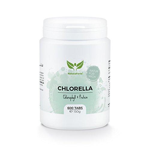 NaturaForte Chlorella Algen Tabletten (600 Stück = 150g) - Natürlich, Hochdosiert, Rein und ohne Zusätze - Vegan - Reich an Protein/Eiweiß - Frisches, Grünes Superfood - Low-Carb