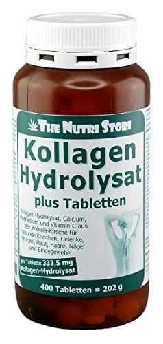 Kollagen Hydrolysat Tabletten plus 400 Stk. - Kollagen-Hydrolysat, Calcium, Magnesium und Vitamin C aus der Acerola-Kirsche für gesunde Knochen, Gelenke, Knorpel, Haut, Haare, Nägel und Bindegewebe