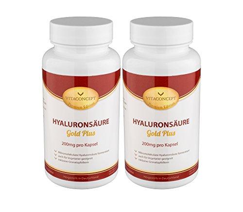 Spar Pack 2x HYALURONSÄURE Gold Plus - 200 mg pro Kapsel - 200 Kapseln fermentiert & Mikro-Molekular - für Vegetarier geeignet * MADE IN GERMANY * Gelenke - Haut - Anti-Aging - höchste pharmazeutische Qualität von VITACONCEPT