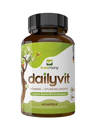 DailyVit - Multivitamin mit Spurenelementen plus Aminosäuren und Bioflavanoiden | Vegan | 60 Kapseln- zwei Monate versorgt! Cystein, Lysin & Taurin | Mit Bor! Neue Rezeptur