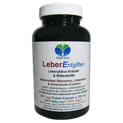 Leber Entgiften | Leber-Galle Kräuter & Bitterstoffe Vegan | 180 Kapseln #25916
