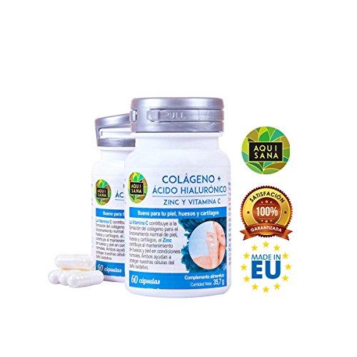 Kollagen mit Hyaluronsäure, Vitamin C und Zink für gesunde Knochen und Gelenke – Nahrungsergänzungsmittel zur Reduktion von Alterungszeichen – 60 Kollagen Hyaluronsäure Kapseln