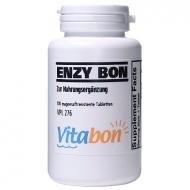 Enzy Bon hochdosiertes Multienzym 100 magensaftresistente Tabletten. Enthaltene Enzyme Bromelain 900mg, Papain 1150mg, Trypsin, Alpha-chymotrypsin, Pankreatin, Amylase, Lipase. Europäisches Enzym Nahrungsergänzungsmittel als Multi Enzym