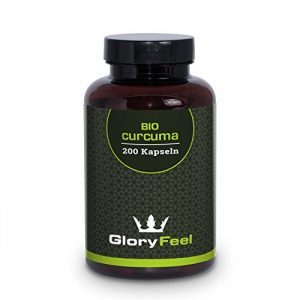 Bio Curcuma (Kurkuma) Kapseln – 3000mg pro Tagesdosis mit Curcumin – 200 Vegane Kapseln Plus Piperin aus Bio Schwarzem Pfeffer – Bio-Zertifikat Ohne Magnesiumstearate – Made in Germany von GloryFeel