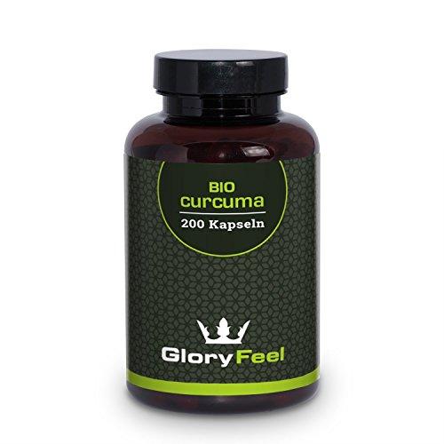 Bio Curcuma (Kurkuma) Kapseln - 3000mg pro Tagesdosis mit Curcumin - 200 Vegane Kapseln Plus Piperin aus Bio Schwarzem Pfeffer - Bio-Zertifikat Ohne Magnesiumstearate - Made in Germany von GloryFeel