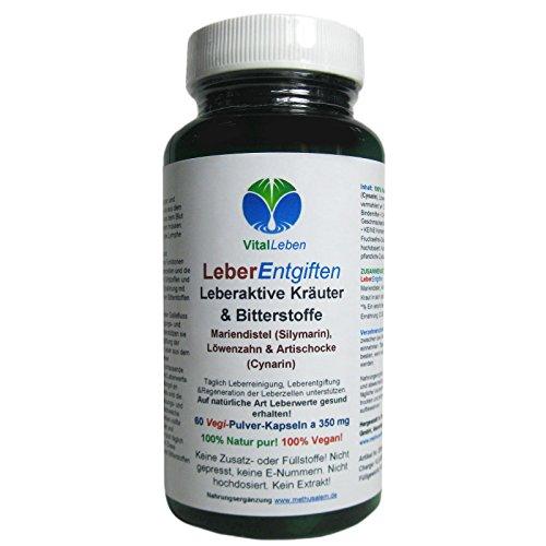 Leber Entgiften   Leber-Galle Kräuter & Bitterstoffe Vegan   60 Kapseln #25914
