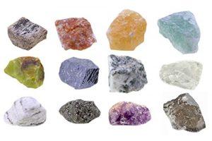Mineralien Rohsteine Edelsteine Sammlung 12 Stück Set.2 z.B. Sonnenstein, Bergkristall, Rauchquarz uva.