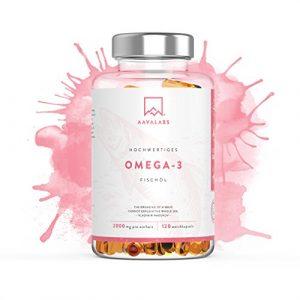 Omega 3 Fischöl [ 2000mg ] von Aava Labs – Hohe Stärke – Molekular destilliert für höchste Reinheit und Frische – 800mg EPA & 400mg DHA pro Tagesdosis – Frei von Gentechnik und Gluten – 120 Kapseln