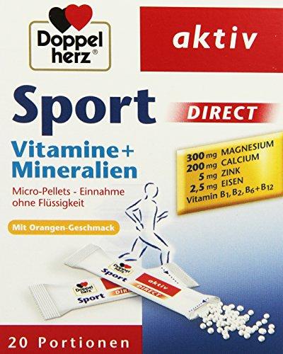 Doppelherz Sport DIRECT mit Orangen-Geschmack | Nahrungsergänzungsmittel mit B-Vitaminen und Mineralien für Sportler und körperlich Aktive | 20 Portionen (20 x Micro-Pellets = 40 g)