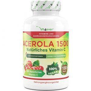 Acerola 1500, natürliches Vitamin C – 180 Kapseln, 1500 mg Acerola Fruchtpulver pro Tagesportion, Hochdosiert mit 25% Vitamin C Anteil, Laborgeprüft, 100% Acerola Kirsche ohne unerwünschte Zusatzstoffe, vegan, Vit4ever
