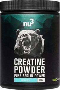 nu3 Creatine Pulver | 500g Kreatin Pulver | Geschmack Unflavoured | 100% reines Creatin-Monohydrat von Creapure | für schnellkraft-erforderliche Sportarten wie Bodybuilding & Fitness | frei von Zucker