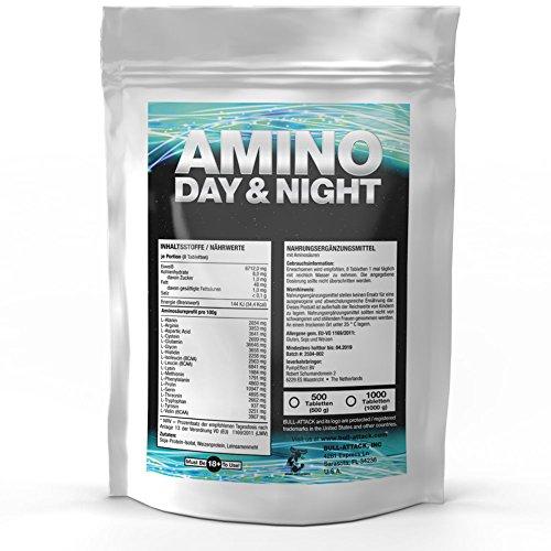 AMINO DAY&NIGHT | 1000 Tabletten hochdosierter Aminosäuren Komplex Vorratspackung á 1000mg | Alle 18 Aminos für eine optimale Rundum Versorgung der Muskulatur auch in der Diät - Top Qualität