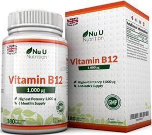 Vitamin B12 Methylcobalamin 1000 mcg – 6-Monats-Versorgung – 180 Tabletten – Nahrungsergänzungsmittel von Nu U Nutrition