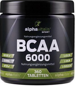 BCAA 6000-360 Tabletten á 1000 mg reine BCAAs – vegan – ohne Magnesium Stearat – glutenfrei – laktosefrei – essentielle Aminosäuren für Sportler