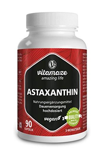 Astaxanthin Kapseln mit 4 mg natürlichem Astaxanthin VEGAN 90 Stück für 3 Monate Qualitätsprodukt-Made-in-Germany ohne Magnesiumstearat, jetzt zum Aktionspreis und 30 Tage kostenlose Rücknahme!