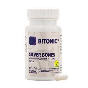 Gelenkschutz Arthrose Komplex – Stärkt Gelenke, Knochen & Knorpel – Mit Glucosamine, Vitamin K + D, Calcium, Mangan – B!TONIC Silver Bones – 60 Gelenkkapseln