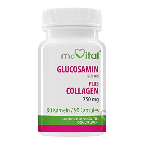 Glucosamin 1200 mg - plus Collagen 750 mg - schützt Gelenke, Knochen, Sehnen und Bänder - 90 Kapseln