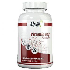 HEALTH+ VITAMIN B12 hochdosiert 120 Kapseln a 430 mg mit 1000mcg Cobalamin-Komplex | Methylcobalamin | Adenosylcobalamin | Hydroxycobalamin | höchste Bioverfügbarkeit | ideal für Vegetarier & Veganer