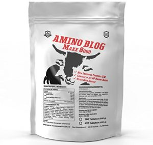 AMINO BLOG MAXX 8000 = 420 Tabletten Aminosäuren-Komplex aus 18 Aminosäuren | Glutamin, BCAA, Arginin | Vegan | Muskelaufbau, Muskelschutz & Muskelerhalt | Anabol + Antikatabol Hochdosiert